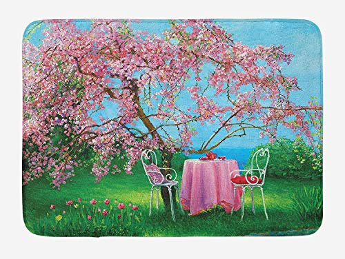 OQUYCZ Rustic Bath Mat, Tea Time Theme Vintage Chairs Plum Tree Spring Garden Painting, Plush Bathroom Decor Mat with Non Slip Backing, 23.6 W X 15.7 W Inches, Pale Blue Green and Pale Pink - Kit Tea Tree