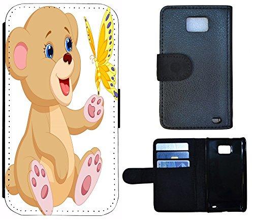 Schutz Hülle Flip Cover Handy Tasche Etui Case für (Apple iPhone 5 / 5s, 1192 Traumfänger Dreamcatcher Pink Rosa Rot) 1197 Teddy Cartoon Bär Braun Weiß