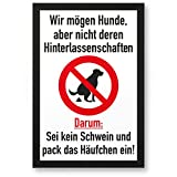 Kein Hundeklo/Keine Hundetoilette (weiß-schwarz) - Kunststoff Schild Hunde kacken verboten - Verbotsschild/Hundeverbotsschild, Verbot Hundeklo/Hundekot / Hundehaufen/Hundekacke
