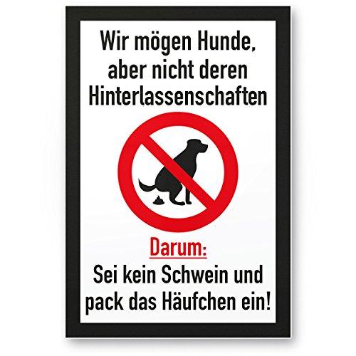 Kein Hundeklo/Keine Hundetoilette (weiß-schwarz) - Schild Hunde kacken verboten -...