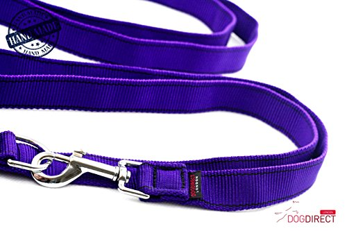 Hundeleine regulierbare Länge Polizei Training Lange Leine 300cm-230cm HALTI LEITEN handgemacht Authentisch DogDirect London (Violett-schwarz) 3T8 - 2