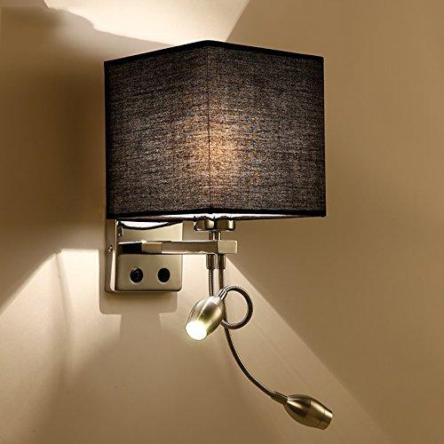 Wandlampe LED-Wand-Leselampe am Bett mit Switch-Fabric Nordic gemütliche Hotelzimmer Hotelschlafzimmer Flur Flur (Farbe : Schwarz) (Eine Bett Am Leselampe)
