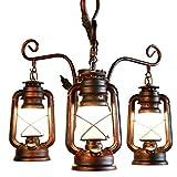 Lampada a sospensione vintage in ferro battuto con imbragature regolabili Lampadario industriale creativo a 3 luci per sala da pranzo