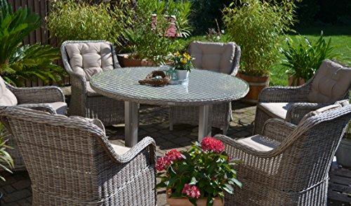 Polyrattan Sitzgruppe für 6 Personen, runder Tisch, sand-grau Geflecht Alu und Rattan