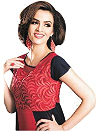 Jaune Red Blue Long kurti Embroidered Suit