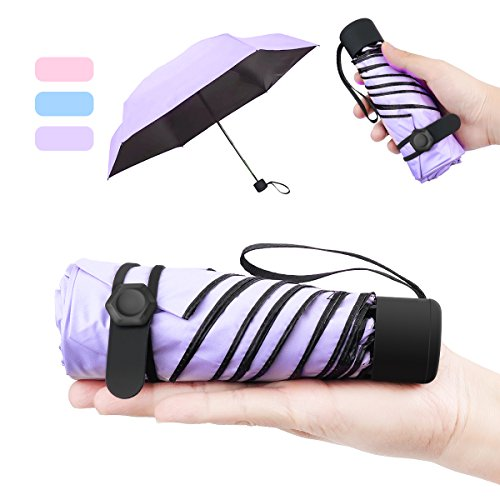 NASUM Mini Paraguas Pequeño del Sol Plegable para Mujeres Portátil Longitud 17 Centímetros 6 Costillas Grueso Negro Tela de Goma Anti Ultravioleta y Viento para Actividades al Aire Libre Morado Claro