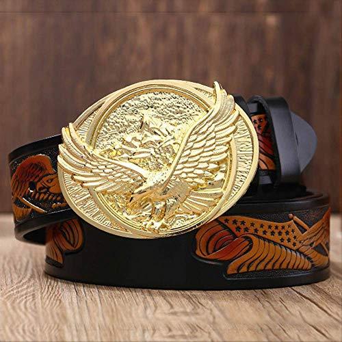 GNCBECasual Herren Ledergürtel Männlich Top Qualität Eagle Totem Kupfer Glatte Schnalle Retro Gürtel Für Herren Jeans 115 cm Goldene Schnalle Schwarz