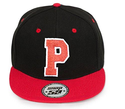 4sold baseball cap ABC Letter ABC Casquette Snapback en Rouge / Blanc avec les lettres A à Z P