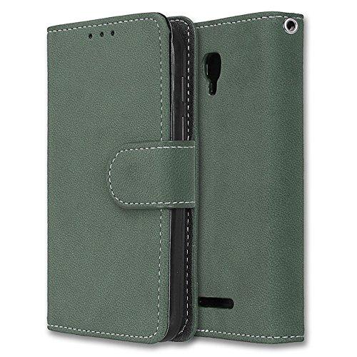 Alcatel Pixi First Hülle, Chreey Matt Leder Tasche Retro Handyhülle Magnet Flip Case mit Kartenfach Geldbörse Schutzhülle Etui [Grün]