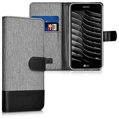 kwmobile Hülle für LG K8 (2017) - Wallet Case Handy Schutzhülle Kunstleder - Handycover Klapphülle mit Kartenfach und Ständer Grau Schwarz