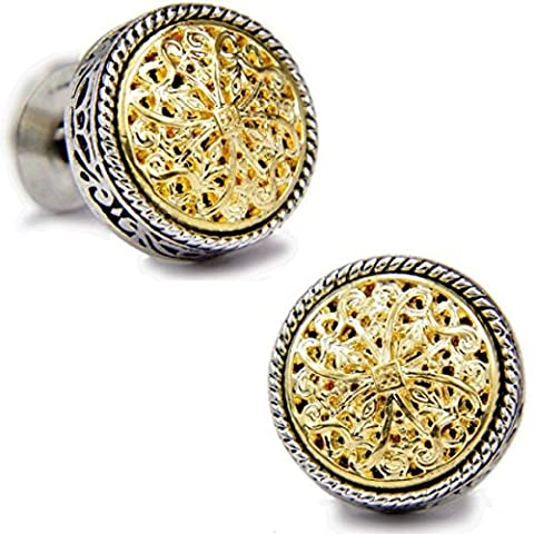 18K Gold Vintage Celtic Cross Filigree Shirt Cufflinks Best Gifts for Men, Wedding, Bussiness, with Gift Box