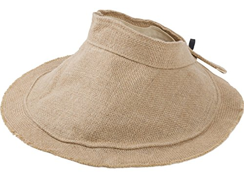 URqueen Women's Fashion Wide Brim Summer Sun Visor Fold Beach Hat Kaki