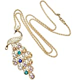 eFuture(TM) Colorful New Fashion Full Crystal Gemstone Peacock Pendant Long Paragraph Necklace Sweater Chain +eFuture's nice Keyring