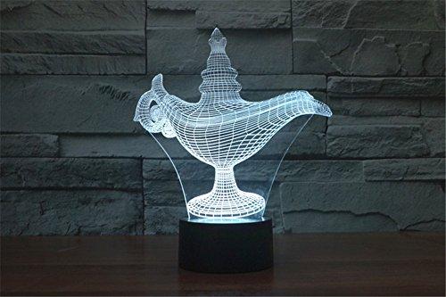 LOTOS® 3D Optical Illusion di Aladino Forma lampada colorata Effetto della luce Alimentazione USB LED di notte della decorazione della luce Lampada da scrivania, regalo perfetto per Natale, Festival, bambini, Amante, compleanno