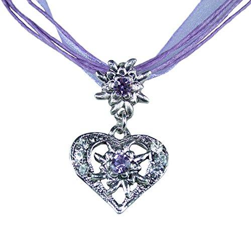 Herz Trachtenkette Davina mit kleinem Edelweiß - Flieder