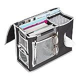 Ufamiluk Bettasche mit 6 Taschen zum Aufhängen Aufbewahrungstasche für Buch, Magazin, Spielzeug, Kopfhörer Armbanduhr, Handy, Brille, Zeitschrift(Schwarz)