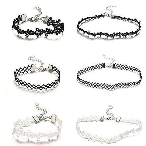Choker Necklace Bracelet Set Stretch Velvet Classic Gothic Tattoo Lace Choker Necklace Bracelet, Black, White, Set of 6