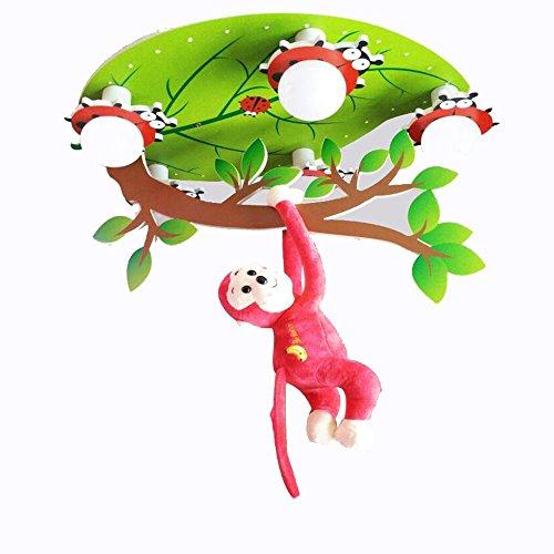 YANGFEIFEI Kreative Persönlichkeit LED Monkey Deckenleuchte Cute Cartoon Boy Mädchen Schlafzimmer Licht Kindergarten Kinderzimmer Licht ( Farbe : Segmented remote control ) (Remote-sub Control)