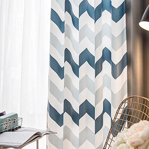 TINE HOME CURTAINS Vorhänge Und Vorhänge Verdunkelungsvorhänge 3D Marine Blau Streifen Drucken Zum Fensterdekorationen Fertige Vorhänge Tülle Oben EIN Panel,1Pc(200 * 270Cm) (Für Schlafzimmer Marine-blau Vorhänge)