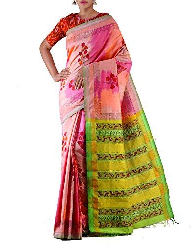 Unnati Silks Women Pink-Green Pure Handloom Pochampally Cotton Silk Ikat Saree(UNM22784)