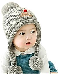 GONGZHUMAMA - Gorro Ganchillo Bebé con Pompón Dibujo Ciervo Invierno Navidad  para Bebé ... 98ff3b1decf