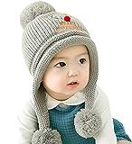 GONGZHUMAMA - Gorro Ganchillo Bebé Pompón Forro Invierno Navidad para Bebé de 6-24 Meses - Gris
