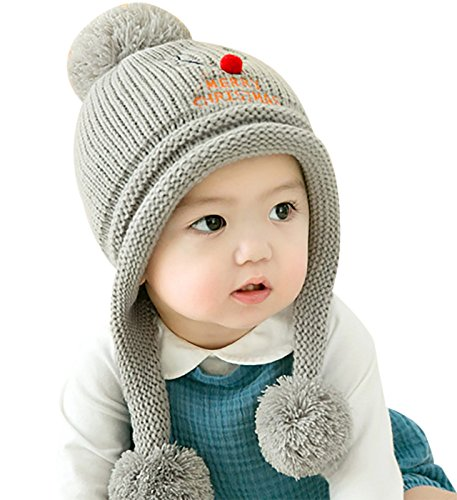 4712c670b GONGZHUMAMA - Gorro Ganchillo Bebé Pompón Forro Invierno Navidad para Bebé  de 6-24 Meses