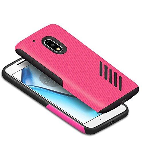 Orzly® Grip-Pro Case für das neue MOTO G4 & G4 PLUS (2016 Lenovo / Motorola Model) Smartphone / Handy – Eine haltbare & superleichte Schutzhülle / Handyhülle / Case / Cover / Handytasche mit zwei getrennten Schichten für besseren Halt & Schutz in Neon Pink/Schwarz