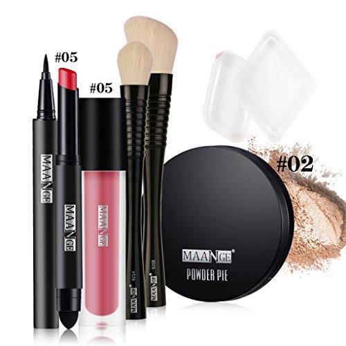 BrilliantDay Juego de maquillaje pintalabios mate polvo compacto brillo de labios líquido Delineador de ojos Cepillo de Fundación#5