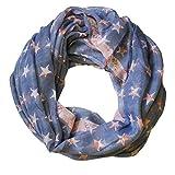 Ein Loopschal Tuch Loop Schal Rundschal Halstuch XXL pastell Sterne Pastell, Farbe:flieder