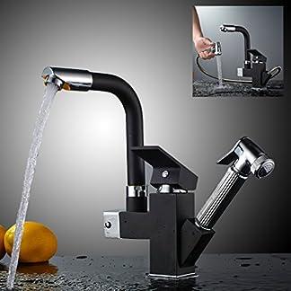 Auralum – Grifo Negro Extensible para Cocina en Latón Dos Salidas del Agua 360 Giratorio Funcional Mezclador