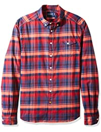 Scotch & Soda Men's Lightweight Brushed Flannel Shirt With Workwear Elements Long Sleeve Top