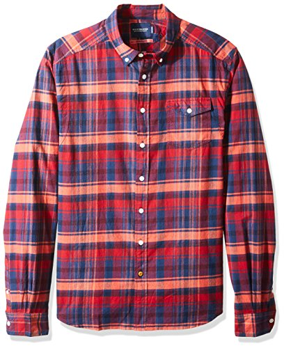 Scotch & Soda Herren Langarmshirt Lightweight Brushed Flannel Shirt With Workwear Elements Combo A
