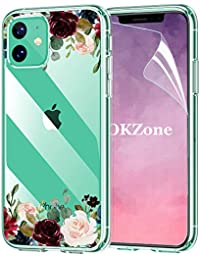OKZone Funda iPhone 11 (6,1 Pulgadas) [con Protector Pantalla], Funda Diseño Floral con Flores Transparente Silicona Suave TPU Bumper Protectora Enjaca Espalda Cubierta (Rojo Oscuro)