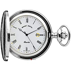 Pocket Watch Chromed Ornate Hunter Roman Numerals Date Quartz Movement
