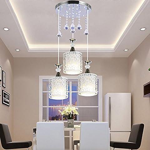 Modern Vintage pendant ceiling light restaurant led personality idyllic lounge dining room light dinner light tableware 15*25cm,3 head Rotary Optical 9-watt +LED Crystal