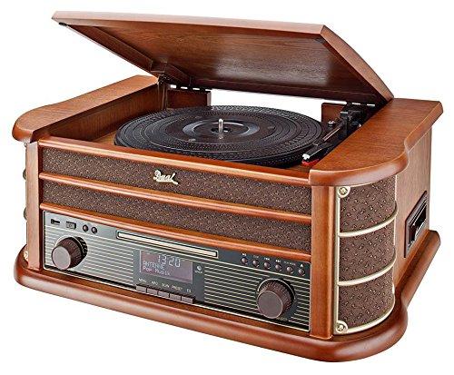 Dual NR 50 DAB Stereo-Nostalgie-Komplettanlage mit Plattenspieler (UKW/DAB(+) Radio, CD (MP3), USB, Kassettenabspieler, AUX-In, Direct-Encoding-Funktion, Fernbedienung) Braun - Cd Radio Mp3 Plattenspieler