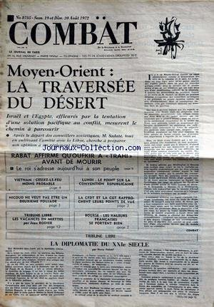 COMBAT [No 8735] du 19/08/1972 - MOYEN-O...