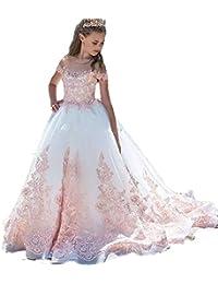 69fe35788ee7 Auxico Rosa Applique di Pizzo Abiti da Ragazza di fiori Per Nozze Primo  Vestito da Comunione