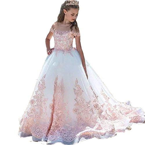 Auxico Rosa Applique di Pizzo Abiti da Ragazza di fiori Per Nozze Primo Vestito da Comunione (Rosa, 14 anni)