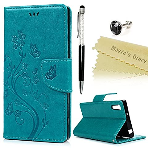 Mavis's Diary Xperia XZ Case,Sony Xperia XZs / XZ Case - Premium PU Leather Wallet Flip Case with Detachable Hand Strip [Butterfly & Vines Embossed] Card Slots & Stand & Magnetic Closure with One Dust Plug & One Stylus for Sony Xperia XZ / XZs-