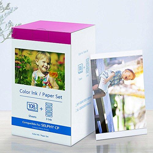 KP-108IN Kompatibel Canon Selphy CP Serie Farbfoto (3 Tintenpatronen und 108 Fotopapier), verwendet in Selphy CP-Serie Drucker CP1300 CP1200 CP110 CP910 CP900 CP820 CP810 CP800 CP790
