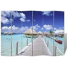 vidaXL Biombo impresión de playa 240 x 180 Divisor Sala Separador