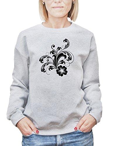 Felpa da donna con Black Ornament Flowers stencil Illustraiton stampa. Large, Grigio