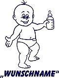 INDIGOS UG - Babystrampler / Strampler 087 mit Wunschname / Wunschtext schwarz 86/92