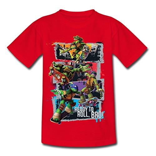 Spreadshirt TMNT Turtles Leo Donnie Raph Mikey Fahren Skateboard Kinder T-Shirt, 110/116 (5-6 Jahre), Rot (Ninja Schildkröte-mädchen-shirt)