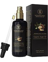 Der SIEGER auf Vergleich.org - Arganöl Bio & Fair Trade 100ml / Kalt-gepresst in Lichtschutz Glas-Flasche - Naturkosmetik Serum für Anti-Aging/Pflege für junge Haut, Gesicht & Haare