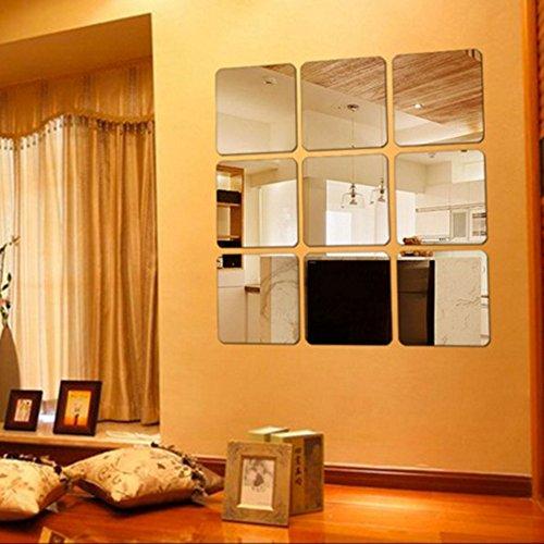 HYSENM 6 Stücke Wandtattoo Wandaufkleber Wandsticker Spiegel DIY PS Kunststoff abziehbar für Kinderzimmer Wohnzimmer drei Größen, Silbern 15*15cm