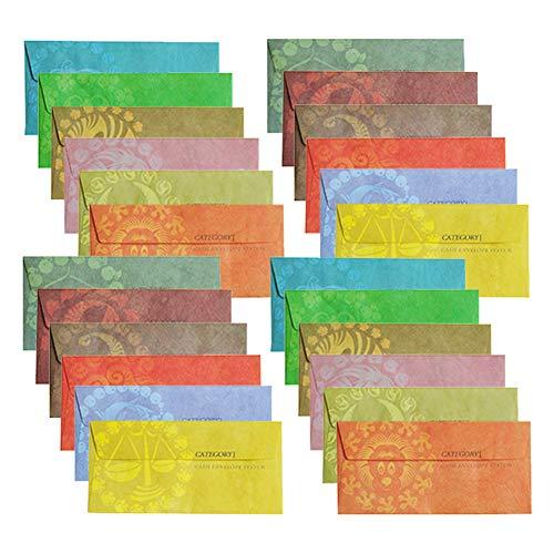 Bargeld Budget Umschläge für Budgetierung, Petty 12 wiederverwendbare Geldumschläge, 12 Geldeinlagen, 1 Tabs, süße Geldumschläge für Frauen, Geldspar-Planer, verschiedene Farben multi (Budgetierung Geld)