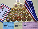 SPORTS DAY MEDAL SET ( red) - 15 metal 50mm MEDALS WITH RIBBONS/CERTIFICATES/SCRATCH CARDS= raise funds!